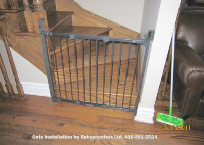 Typical baby gate installation between wall and post.
