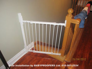 Typical baby gate installation where opening is quite narrow.